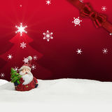 Greeting card santa clause snow red Royalty Free Stock Photo