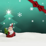 Greeting card santa clause snow turquoise Stock Image