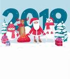 2019 greeting card with Santa, polar bear, snowman, deer and Christmas trees. Vector illustration vector illustration