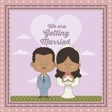 Greeting card of scene sky landscape with decorative frame of just married couple bride and groom of skin brunette. Vector illustration Stock Photography