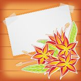 Greeting card with scotch tape and flowers Royalty Free Stock Images
