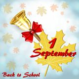 Greeting card by September 1. With a bell against the blue sky royalty free illustration