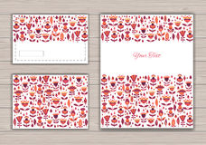 Greeting card set with abstract background Stock Photos