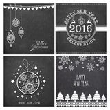 Greeting card set for Christmas and New Year. Set of creative greeting cards with stylish ornaments on chalkboard background for Merry Christmas and Happy New Royalty Free Stock Photography