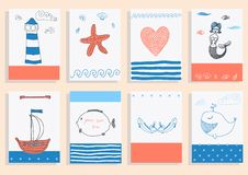 Greeting Card Set Cute Sea Objects Collection. Royalty Free Stock Photo