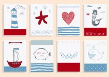 Greeting card set cute sea objects collection. Stock Images