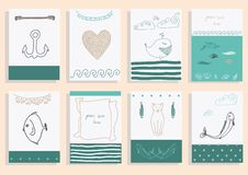 Greeting card set cute sea objects collection. Stock Photos