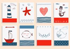 Greeting card set cute sea objects collection. Stock Image