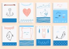 Greeting card set cute sea objects collection. Royalty Free Stock Images