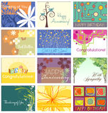 Greeting card set 12 designs. All occasion designs for printing stock illustration