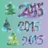 Greeting card set figures and Christmas trees New. Year 2015 Watercolor royalty free illustration