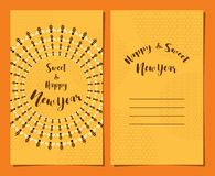 Greeting card set for Jewish new year, Rosh Hashanah. sweet  in Hebrew Stock Photos