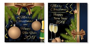 Greeting card set for New Year 2018. Greeting cards set for New Year 2018. Merry Christmas and Happy New Year 2018. Vector illustration Stock Image