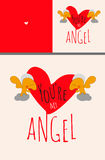 Greeting card set or poster with Angels holding big Valentine heart with text You are my angel. Love, gratefulness, adoration, fri. Endship concept. Vector Stock Image