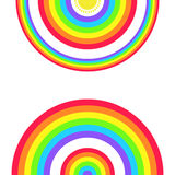 Greeting Card with a Set of Rainbows and the Sun Stock Photos