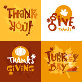 Greeting card set for Thanksgiving Day. Royalty Free Stock Photos