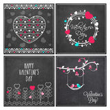 Greeting card set for Valentine's Day celebration. Royalty Free Stock Photos
