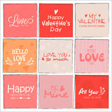 Greeting card set for Valentine's Day celebration. Royalty Free Stock Image