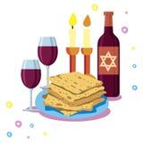 Greeting card Shabbat shalom. Candles, cups and matzo. Jewish Holiday. Stock Image