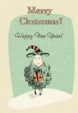 Greeting card sheep with gift. Hand-drawn vector Stock Images