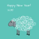 Greeting card with sheep. Vector greeting card with sheep. Chinese New Year stock illustration