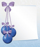 Greeting card with sheet of paper and blue balls Royalty Free Stock Photos