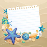 Greeting card with shells and starfishes Stock Photo