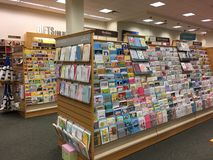 Greeting card on shelves for sale Royalty Free Stock Photography