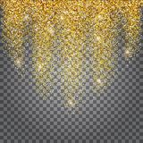 Greeting card, shimmer golden background. Brilliant gold tinsel. Bright stars on a transparent background. Vector Illustration Stock Photos