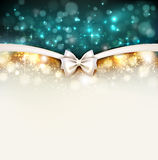 Greeting card. Shine Christmas greeting card with bow Royalty Free Stock Photography