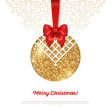 Greeting Card with Shining Gold Bauble and Red Stock Photo