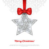 Greeting Card with Shining Silver Star Bauble and. Red Silk Ribbon. Vector illustration. Happy New Year, Merry Christmas, Seasons Greetings Stock Image