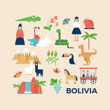 Greeting card with sightseeing of Bolivia Stock Photos