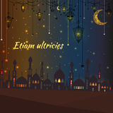 Greeting card with silhouette of a mosque and vintage lanterns, stars Royalty Free Stock Image