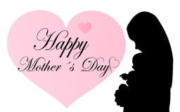 Happy Mothers Day. Background of greeting card with silhouette mother with baby Stock Photography