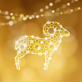 Greeting card with silhouette of ornamental sheep illuminated by lights. Golden  illustration background for Eid Ul Adha. Greeting card with silhouette of Stock Images