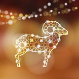 Greeting card with silhouette of ornamental sheep,  Royalty Free Stock Photography