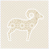 Greeting card with silhouette of ornamental sheep and traditional Arabian pattern. Vector illustration background for Royalty Free Stock Photos