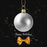 Greeting card with silver Christmas ball and golden bow. Vector Greeting card with silver Christmas ball and golden bow Stock Photography