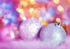 Greeting card with silver Christmas balls. On colorful background royalty free stock photo