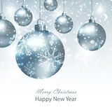 Greeting card with silver Christmas balls. Background with silver Christmas balls. Royalty Free Stock Photography