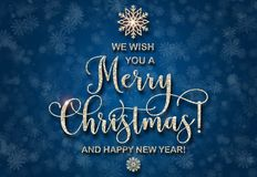 Greeting card with silver text on a blue background. Glitter phrase. We wish you a Merry Christmas and a Happy New Year Abstract Christmas tree shape. Bright Royalty Free Stock Images