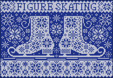 Greeting card with skates. Knitted style. Stock Image