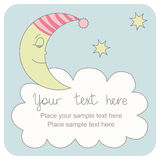 Greeting card with a sleeping crescent. Cute greeting card with a sleeping crescent Stock Photo