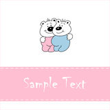 Greeting card with smiling baby bears Stock Photos