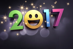2017 Greeting card for smiling. Colorful 2017 year type with a smiley symbol on a festive black background - 3D illustration Stock Image
