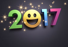 2017 Greeting card for smiling. Colorful 2017 year type with a smiley symbol on a festive black background - 3D illustration Stock Photos
