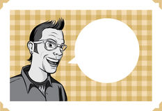 Greeting card with smiling geek Stock Image