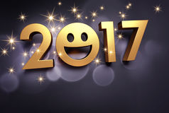 2017 Greeting card for smiling. Gold 2017 year type with a smiley symbol on a festive black background - 3D illustration Royalty Free Stock Image