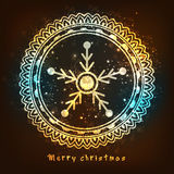 Greeting card with snowflake for Merry Christmas. Royalty Free Stock Photo